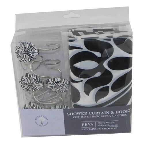 Carnation Home Fashions Beacon Hill Printed PEVA Shower Curtain