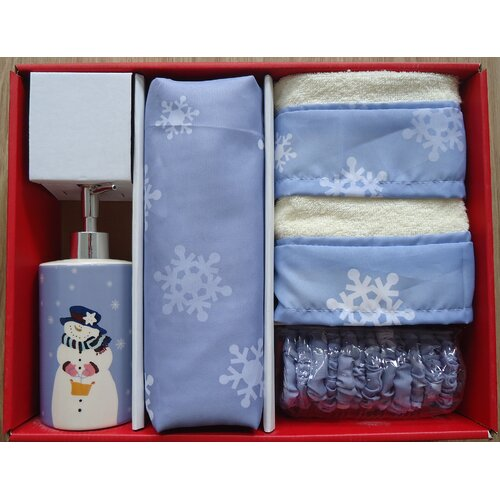 Let it Snow Holiday Print 16-Piece Shower Curtain Set