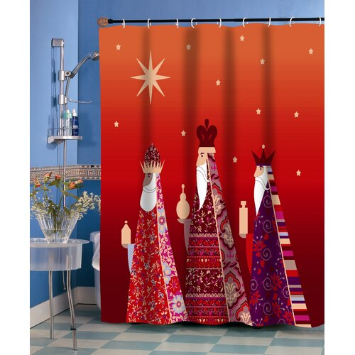 Carnation Home Fashions Three Kings Polyester Fabric Holiday Shower Curtain