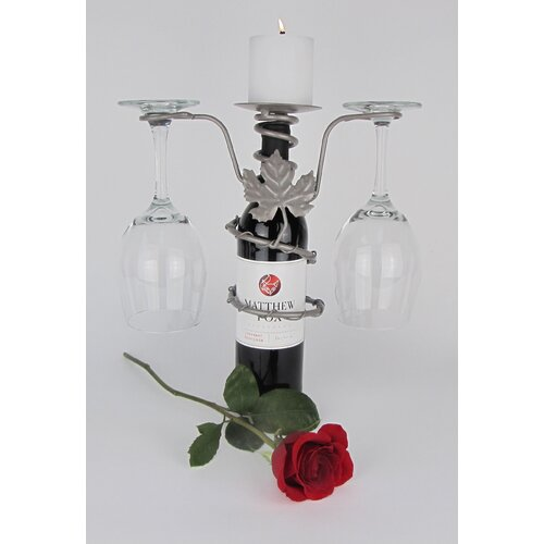 Grapevine Design 2 Stem Wine Bottle Pillar Candleholder