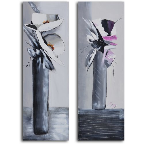 'Near and Far Vase' 2 Piece Original Painting on Canvas Set