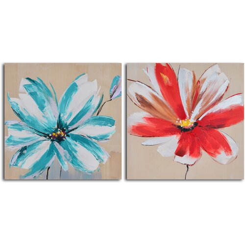 'Teal and Rouge Flowers' 2 Piece Original Painting on Canvas Set