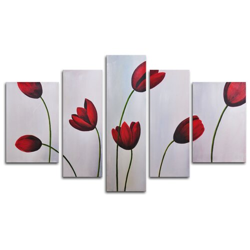 My Art Outlet Red Flimsy Poppies 5 Piece Painting Print on Canvas Set