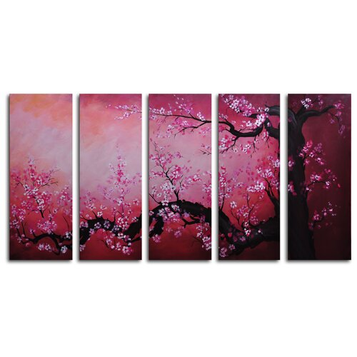 Cochineal Black Trunked Cherry 5 Piece Painting Print on Canvas Set