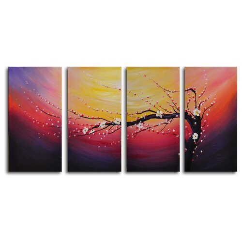 My Art Outlet Swept into the Night 4 Piece Painting Print on Canvas Set