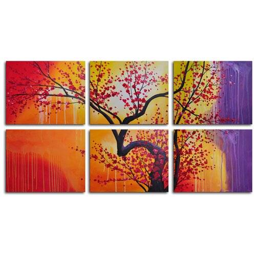 My Art Outlet Cherry in Melting Landscape 6 Piece Painting Print on Canvas Set