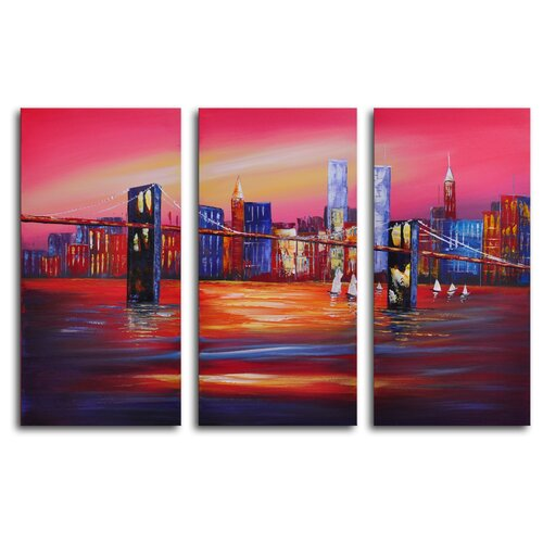 My Art Outlet Bridge to the City 3 Piece Original Painting on Canvas Set