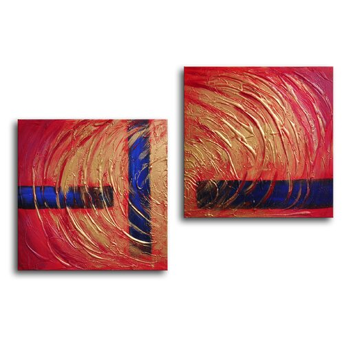 My Art Outlet Missing Pieces 2 Piece Original Painting on Canvas Set