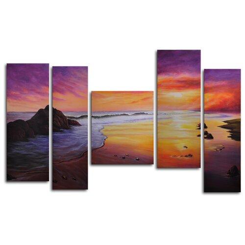 Pieces of Sunset 5 Piece Original Painting on Canvas Set