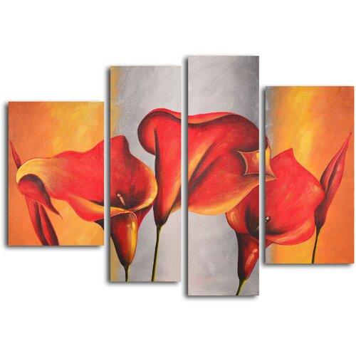 Burnt Orange, Silver Lilies 4 Piece Original Painting on Canvas Set