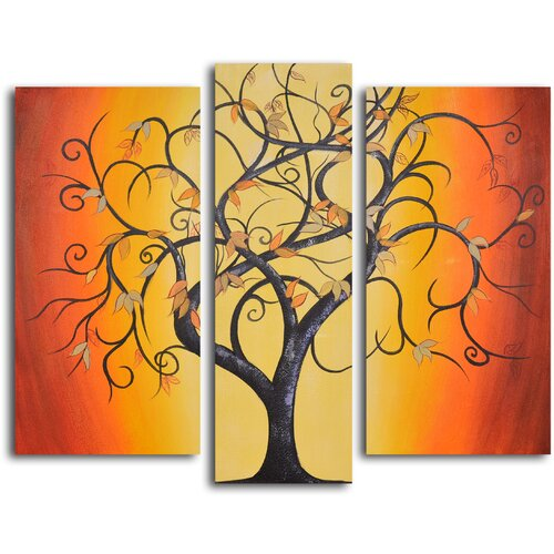 My Art Outlet Thai Tree Dance 3 Piece Original Painting on Canvas Set