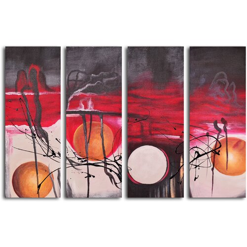 My Art Outlet Balls Eclipsed in Time 4 Piece Original Painting on Canvas Set