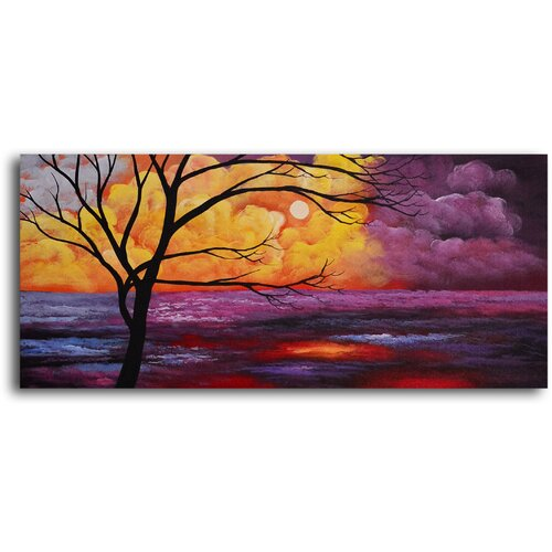 My Art Outlet Tree Against Cumulous Clouds Original Painting on Canvas