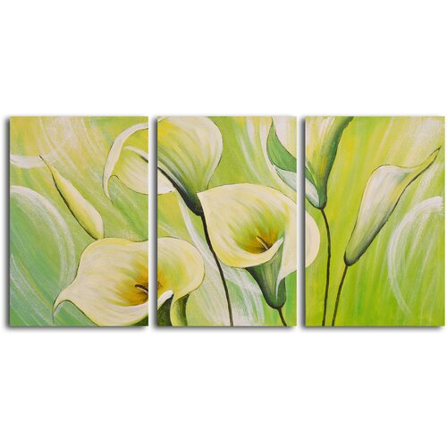 My Art Outlet Whispering Lilies 3 Piece Original Painting on Canvas Set
