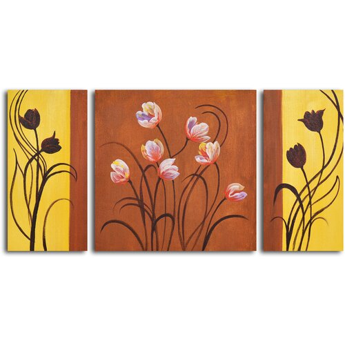 My Art Outlet Deco Tulips 3 Piece Original Painting on Canvas Set