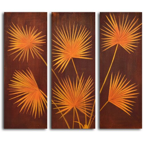 My Art Outlet Fanned Fronds 3 Piece Original Painting on Canvas Set