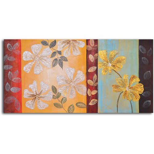 Silver to Gold Flowers Original Painting on Canvas