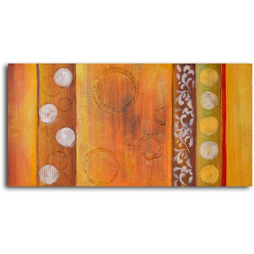 My Art Outlet Embossed Gold Bubbles Original Painting on Canvas