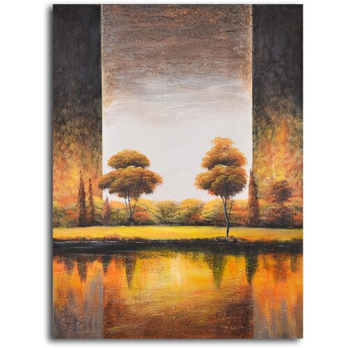 My Art Outlet 'Backlit Meadow' Original Painting on Canvas