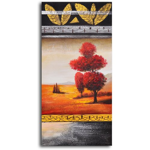 My Art Outlet 'Red Velvet Tree' Original Painting on Canvas