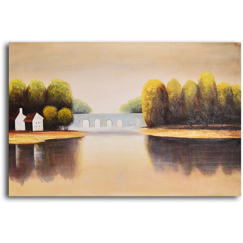 My Art Outlet 'Bridge to Home' Original Painting on Canvas