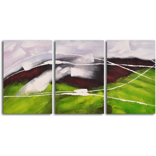 My Art Outlet 'Flight over Green Hills' 3 Piece Original Painting on Canvas Set