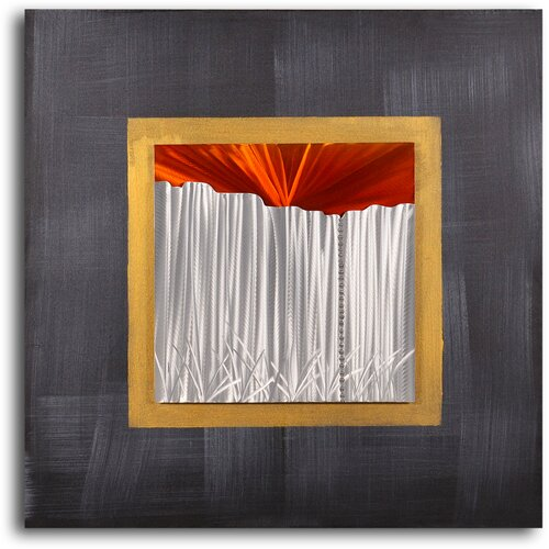 My Art Outlet 'Sunset over Corrugated Fence' Original Painting on Canvas