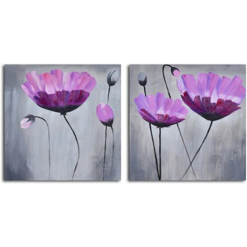 'Ethereal Pink Blooms' 2 Piece Original Painting on Canvas Set