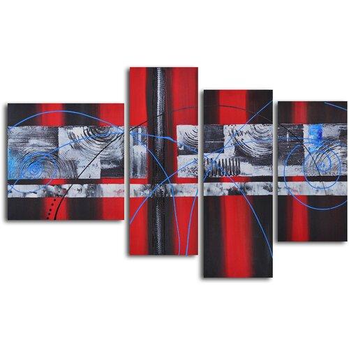 'Geometric Symphony with Blue' 4 Piece Original Painting on Canvas Set