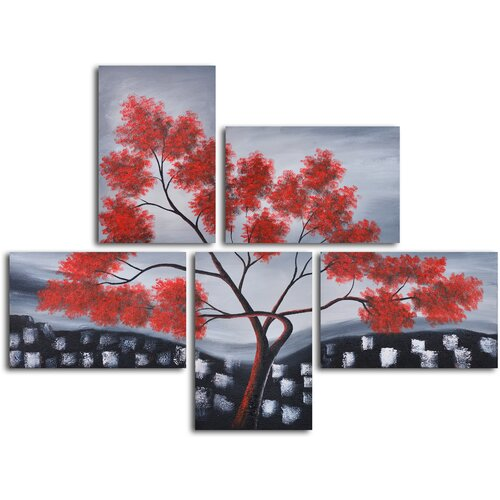 'Red Leaves Over Rooftops' 5 Piece Original Painting on Canvas Set