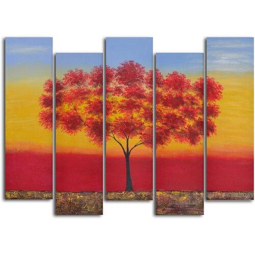 'Red Tree Quintet' 5 Piece Original Painting on Canvas Set
