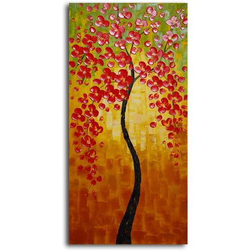 'Orange Petaled Twiglet' Original Painting on Canvas