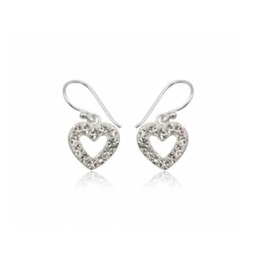 Ayana Jewelry Heart shaped Silver Studs Earrings with Pink with Swarovski Elements