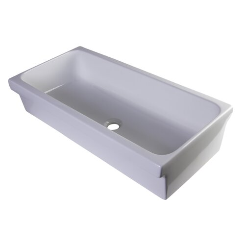 "35.5"" Above Mount Porcelain Bath Trough Sink 