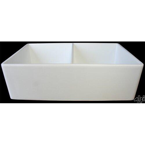 """Alfi Brand 32.75"""" x 19.88"""" Smooth Double Bowl Farmhouse Kitchen Sink"""