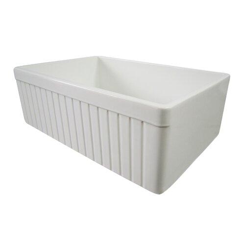 "Alfi Brand 29.88"" x 19.75"" Single Bowl Fluted Farmhouse Kitchen Sink"