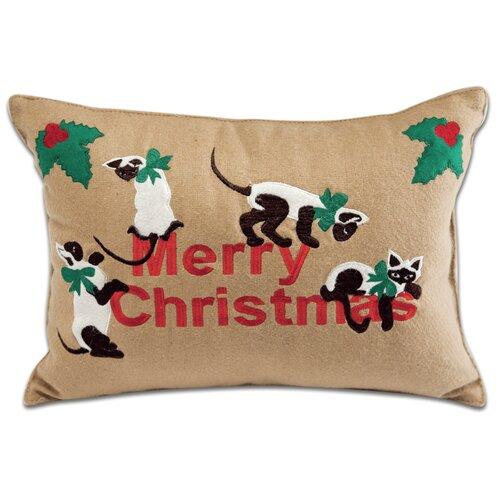 Holiday Siamese Cats Applique Pillow