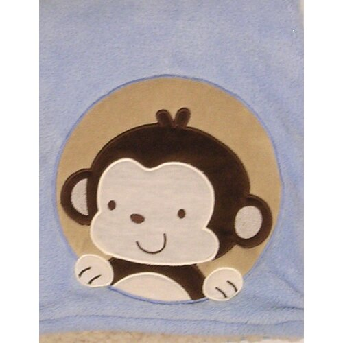 Sherpa Monkey Crib Throw Blanket
