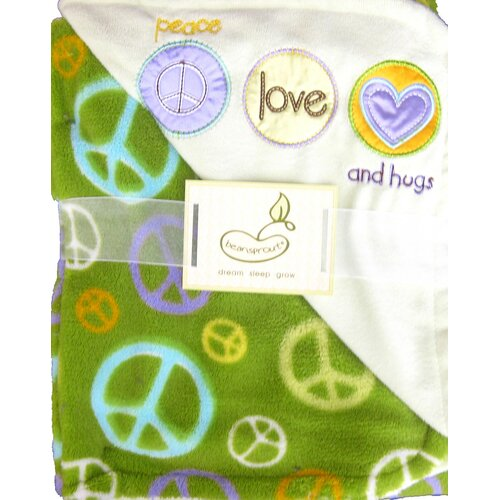 2 Ply Peace Love and Hugs Crib Throw Blanket