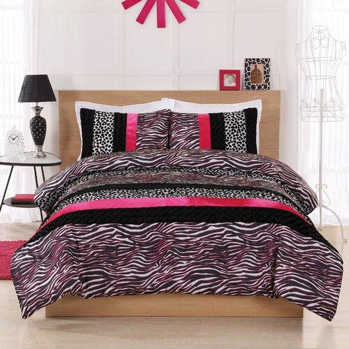 Pink Zebra Leopard Stripe Comforter Set