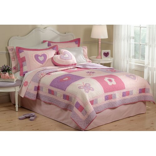 Spring Hearts Quilt with Pillow Sham