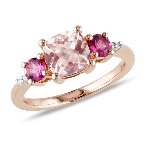 Silver Cushion Cut Morganite Ring
