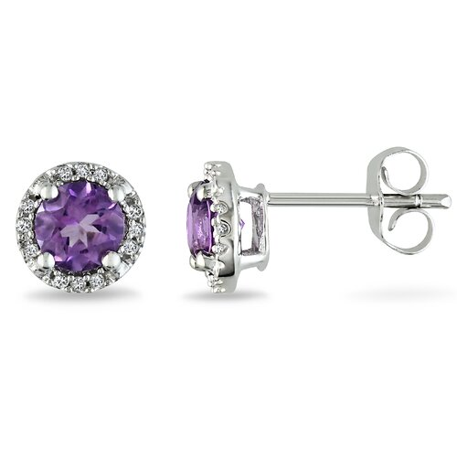 10K Round Cut Diamond and Amethyst Stud Earrings
