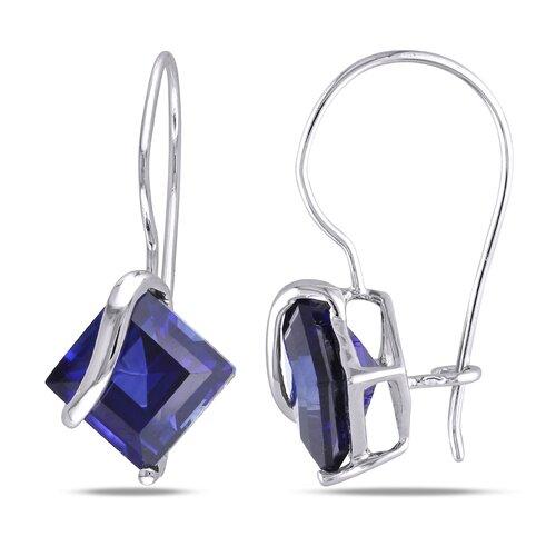Square Cut Sapphire Drop Earrings