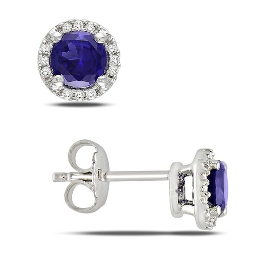 Round Cut Sapphire Stud Earrings