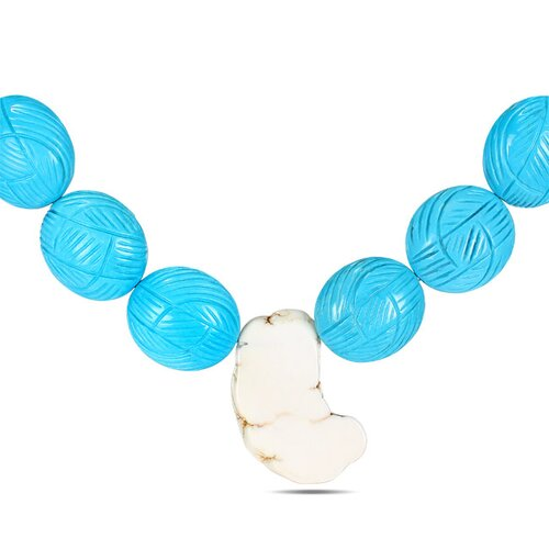 Amour Turquoise Bead Necklace with White Tone Chain and Lobster Clasp