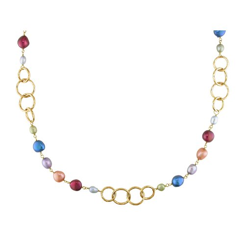 Amour Irregular Cultured Pearl Necklace with Yellow Plated Brass Brushed Round Links