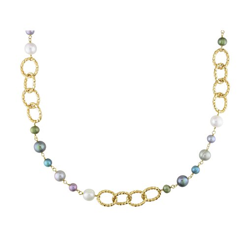 Amour Irregular Cultured Pearl Necklace with Yellow Plated Brass Twisted Oval Links