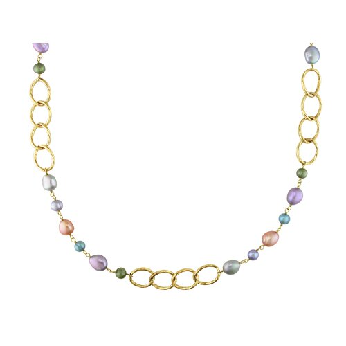 Amour Miadora Goldtone Multicolored Cultured Pearl Oval Link Necklace