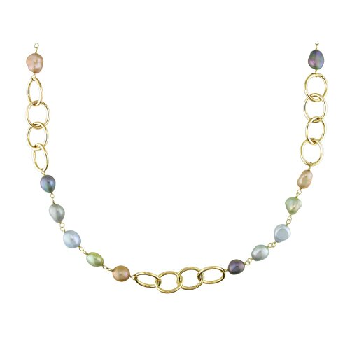 Amour Miadora Multicolored Cultured Pearl Oval Link Necklace